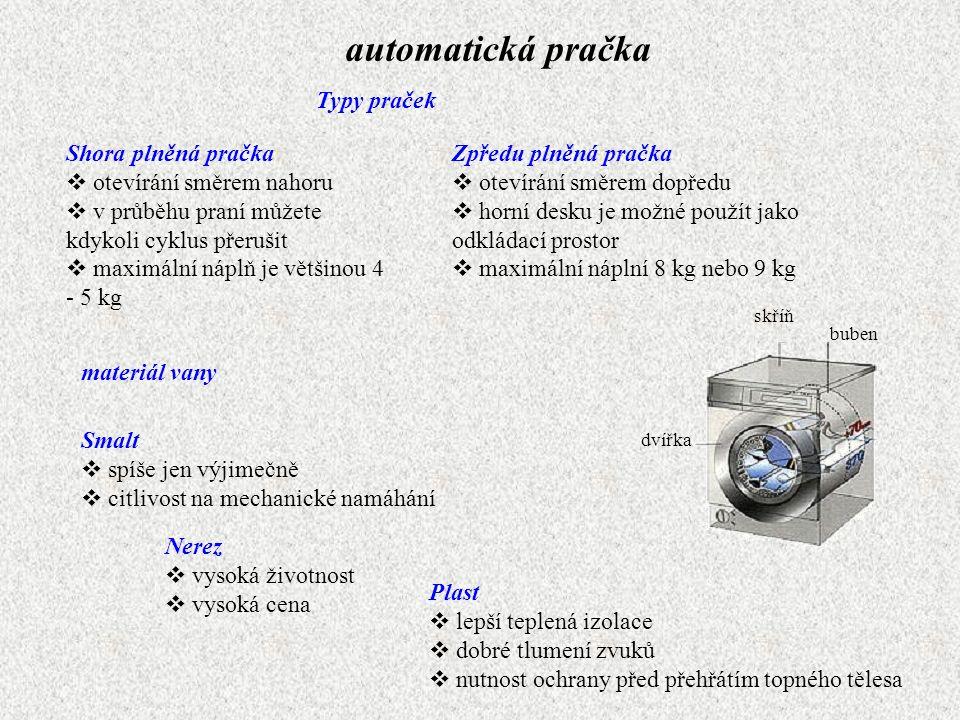 automatická pračka Typy praček Shora plněná pračka