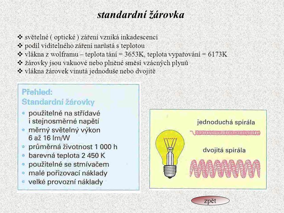 standardní žárovka světelné ( optické ) záření vzniká inkadescencí