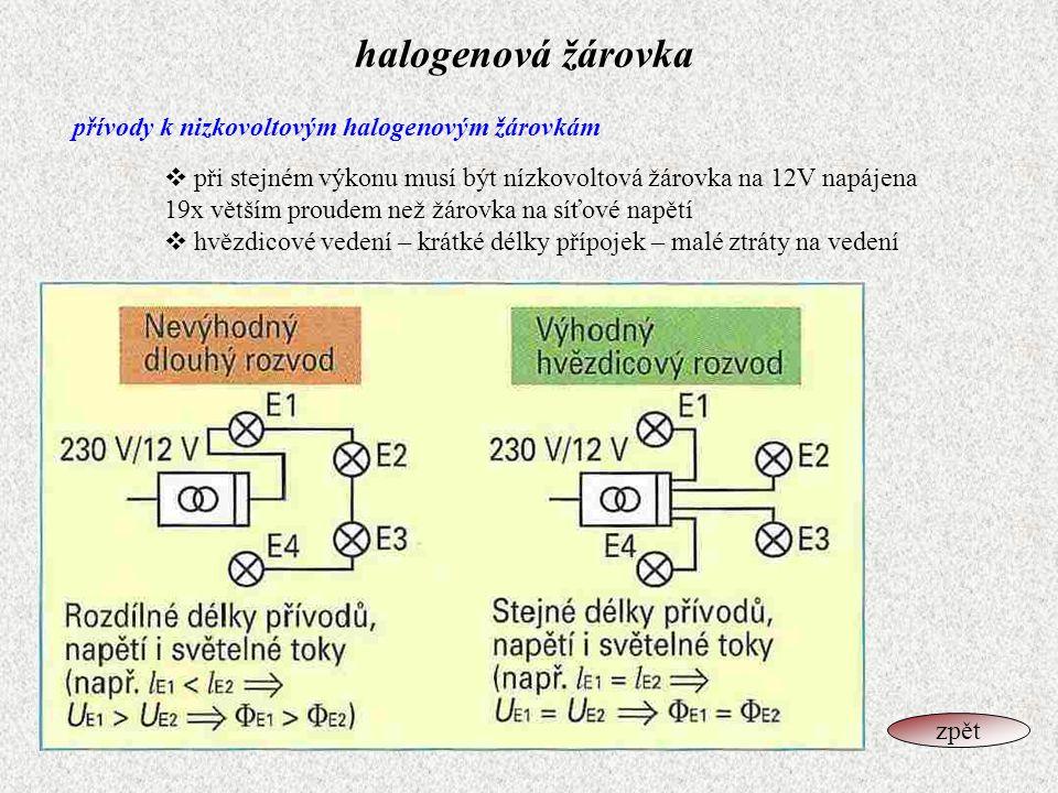 halogenová žárovka přívody k nizkovoltovým halogenovým žárovkám