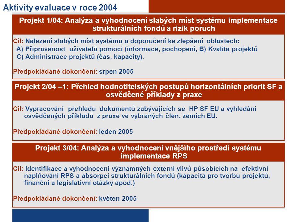Aktivity evaluace v roce 2004