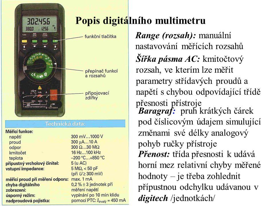 Popis digitálního multimetru