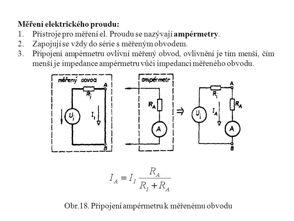 Obr.18. Připojení ampérmetru k měřenému obvodu