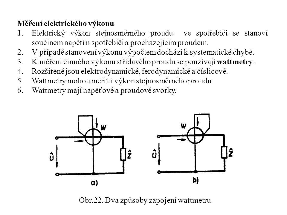 Obr.22. Dva způsoby zapojení wattmetru