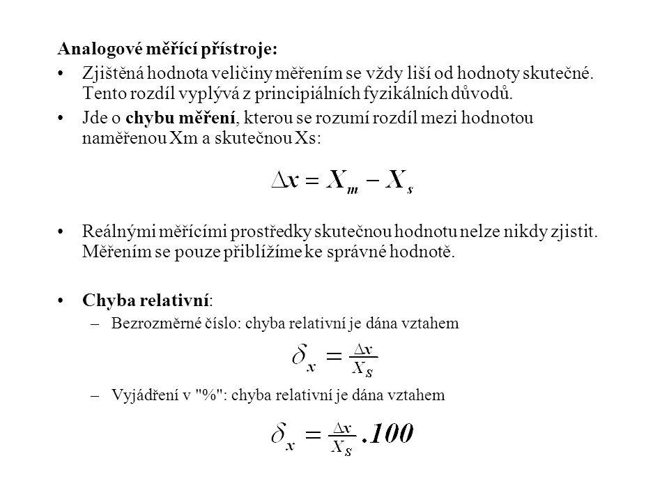 Analogové měřící přístroje: