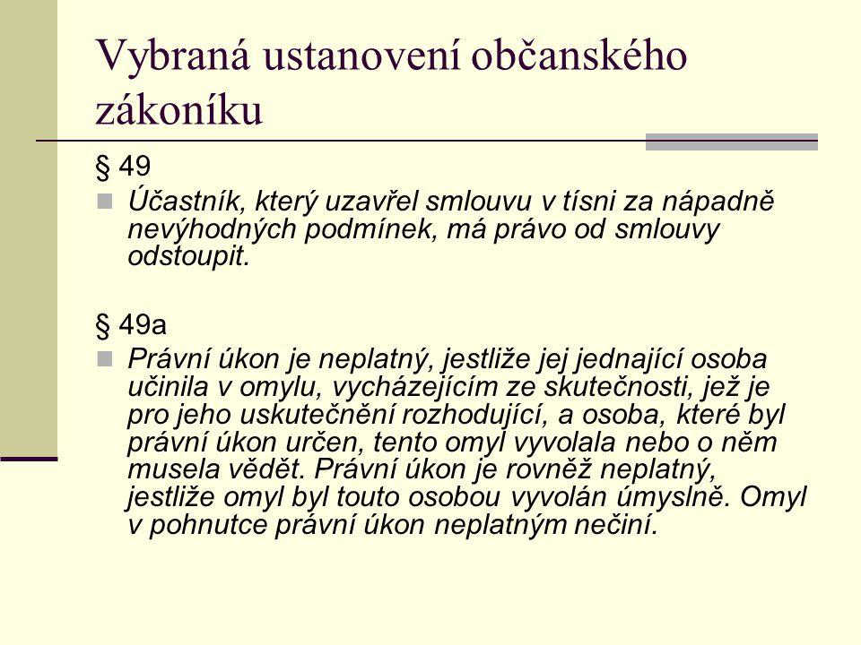 Vybraná ustanovení občanského zákoníku