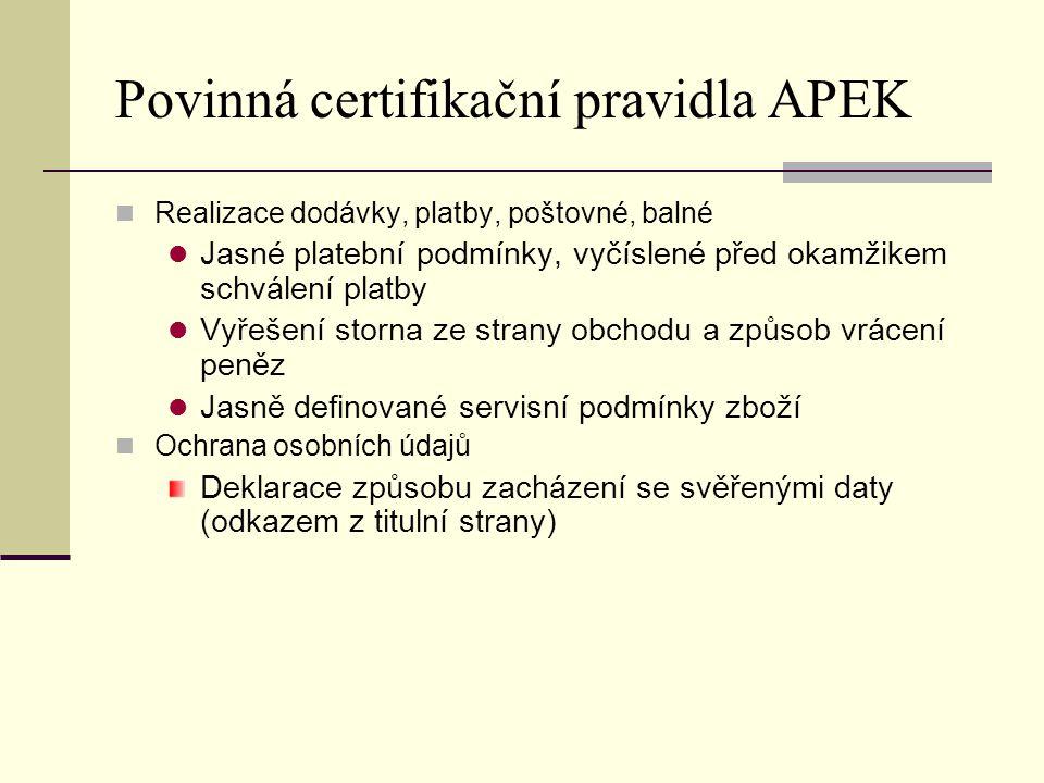 Povinná certifikační pravidla APEK