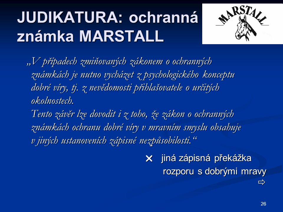 JUDIKATURA: ochranná známka MARSTALL