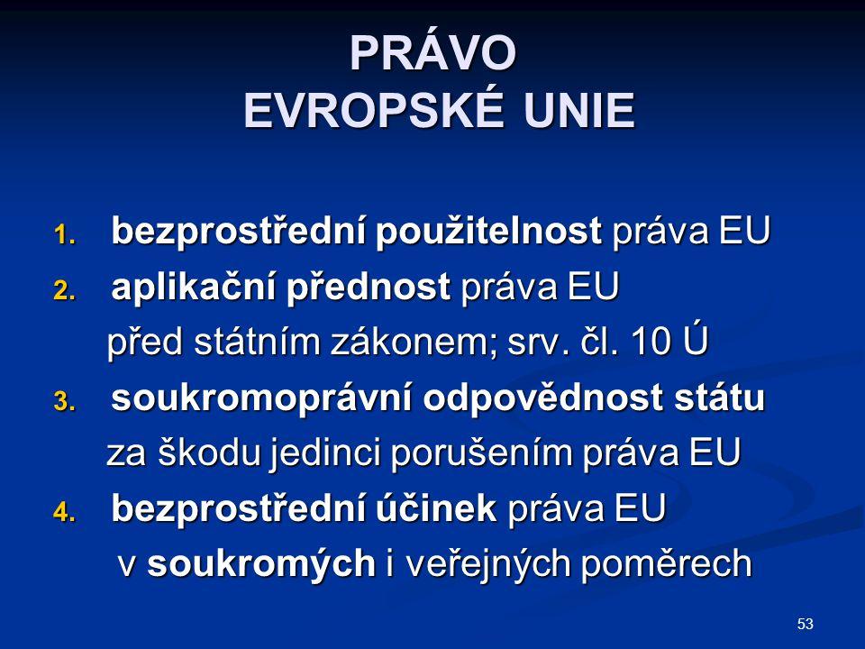 PRÁVO EVROPSKÉ UNIE bezprostřední použitelnost práva EU
