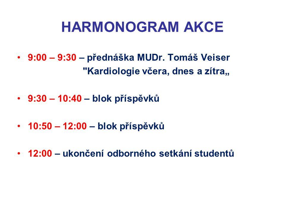 HARMONOGRAM AKCE 9:00 – 9:30 – přednáška MUDr. Tomáš Veiser