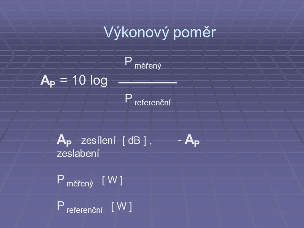 Výkonový poměr P měřený AP = 10 log