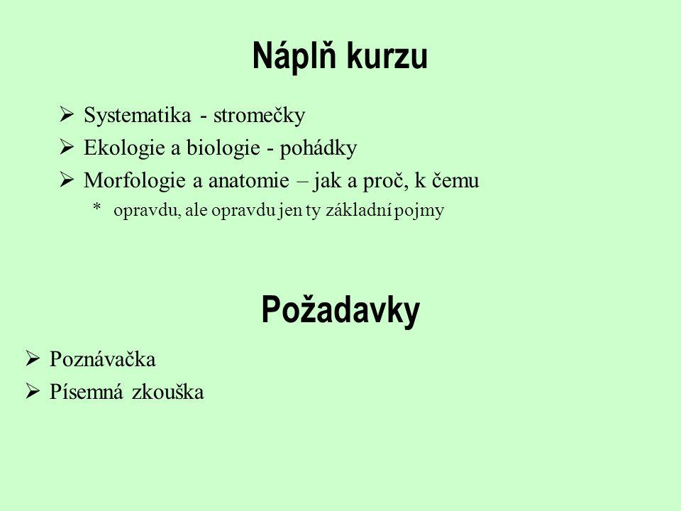 Náplň kurzu Požadavky Systematika - stromečky