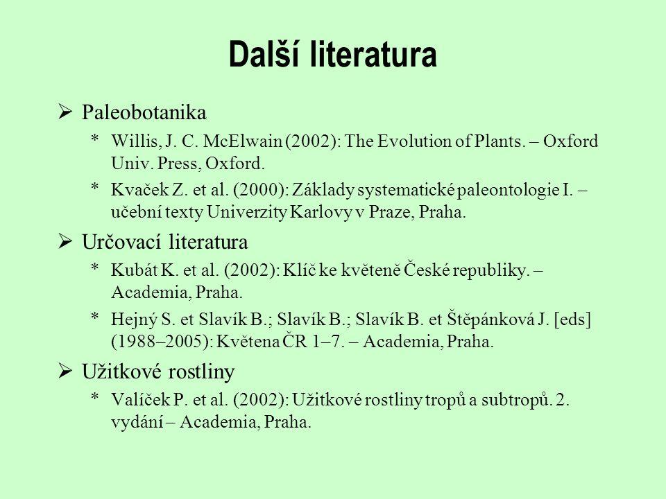 Další literatura Paleobotanika Určovací literatura Užitkové rostliny