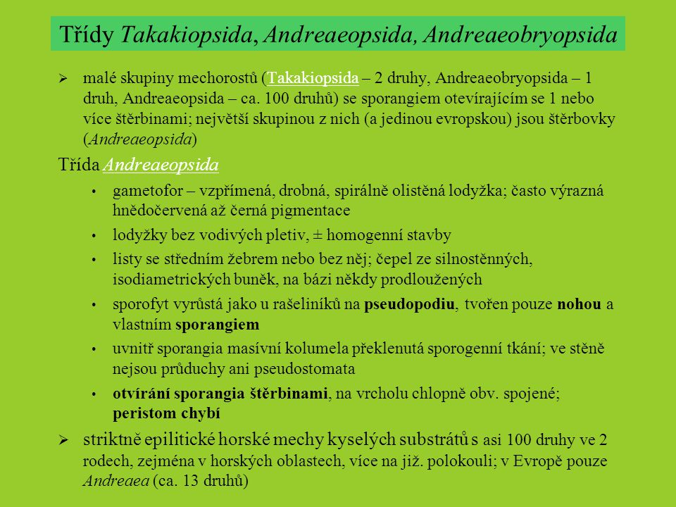 Třídy Takakiopsida, Andreaeopsida, Andreaeobryopsida