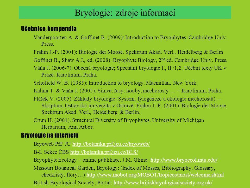 Bryologie: zdroje informací