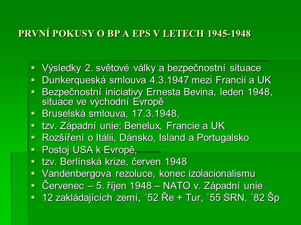 PRVNÍ POKUSY O BP A EPS V LETECH 1945-1948