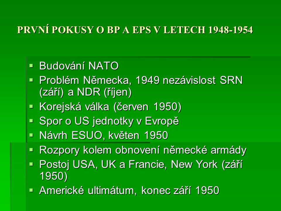 PRVNÍ POKUSY O BP A EPS V LETECH 1948-1954
