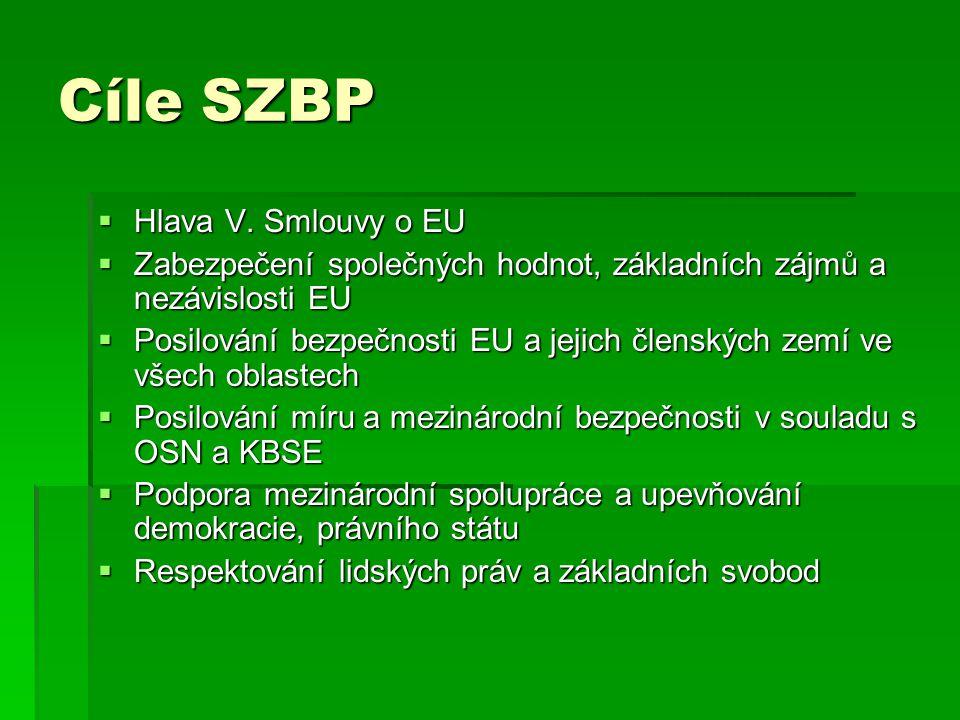 Cíle SZBP Hlava V. Smlouvy o EU
