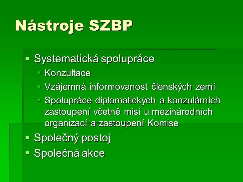 Nástroje SZBP Systematická spolupráce Společný postoj Společná akce