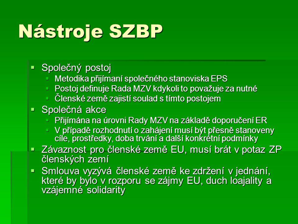 Nástroje SZBP Společný postoj Společná akce