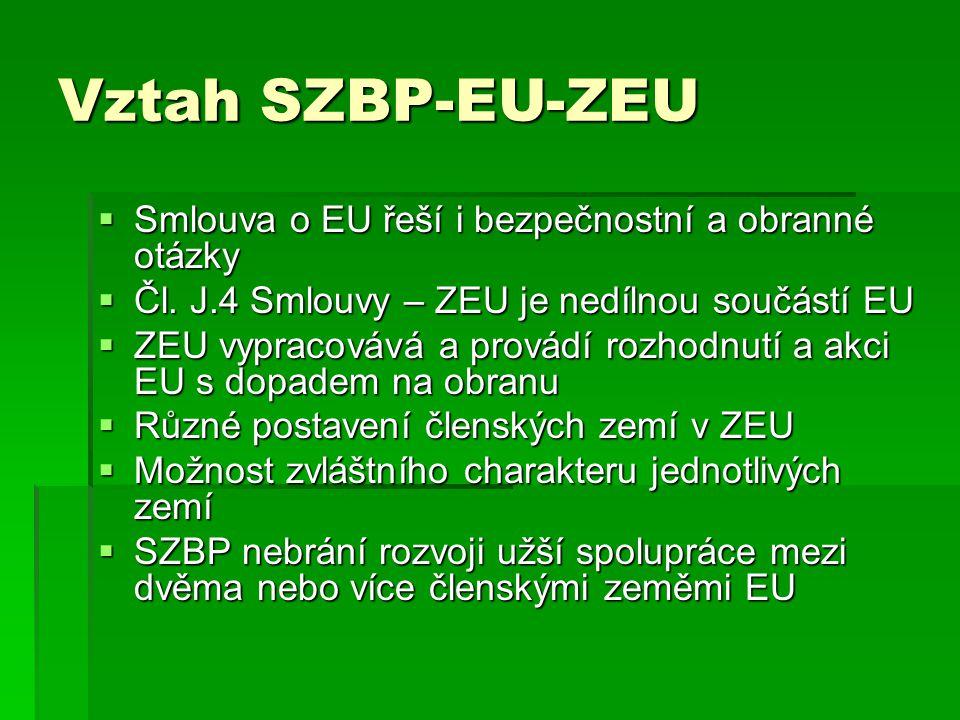 Vztah SZBP-EU-ZEU Smlouva o EU řeší i bezpečnostní a obranné otázky
