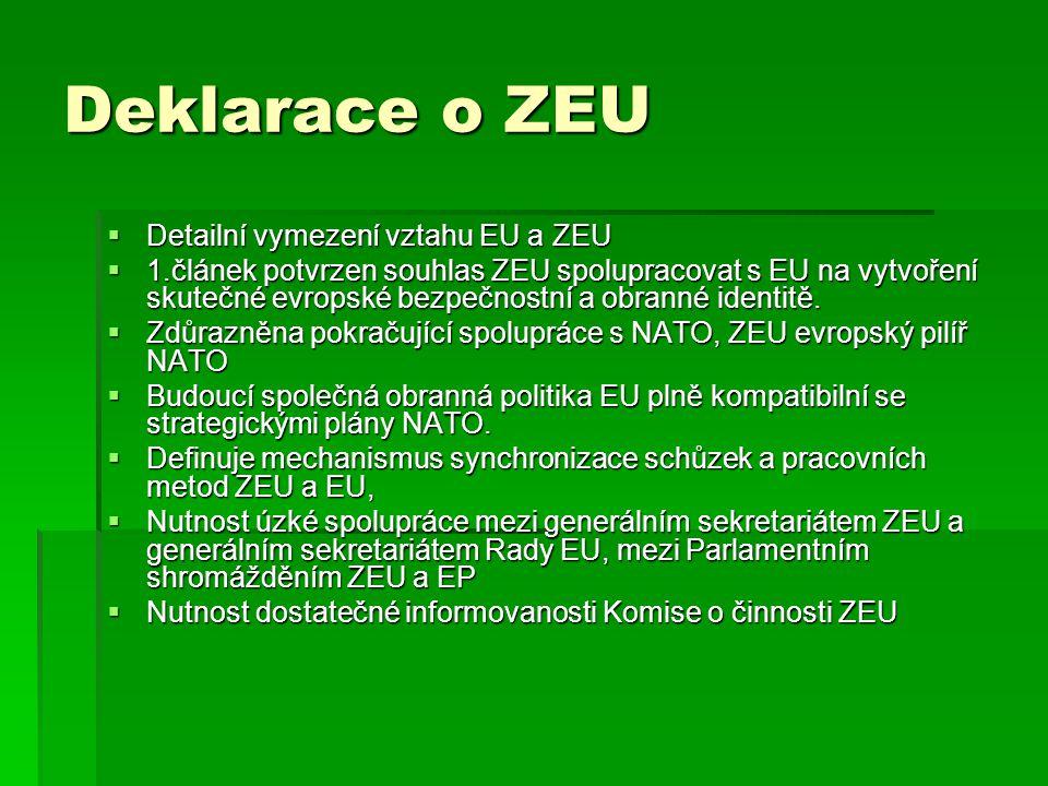 Deklarace o ZEU Detailní vymezení vztahu EU a ZEU