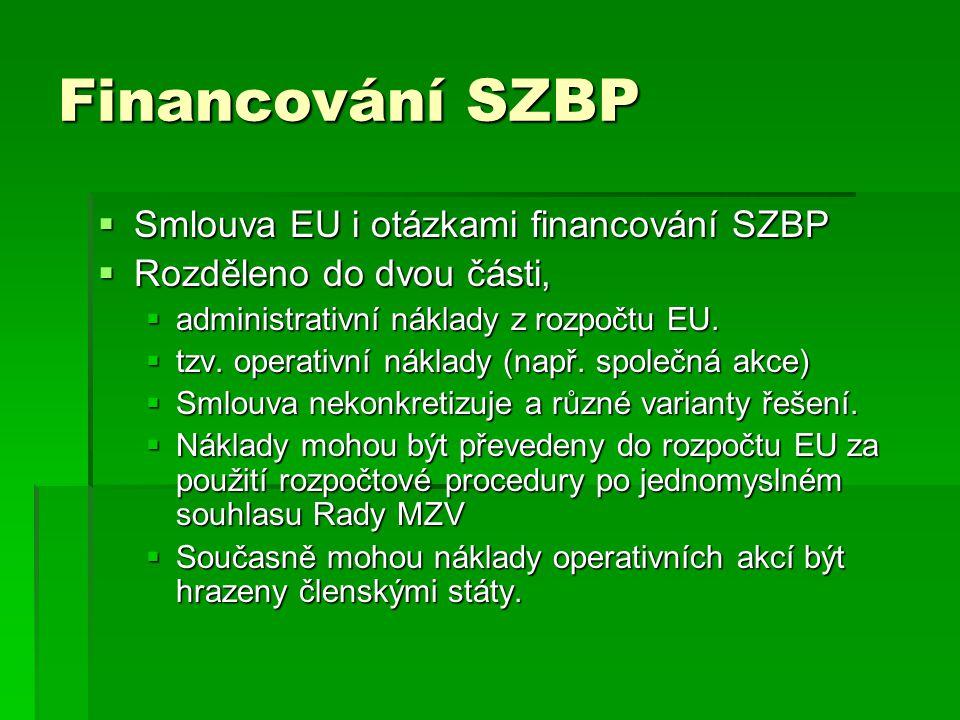 Financování SZBP Smlouva EU i otázkami financování SZBP