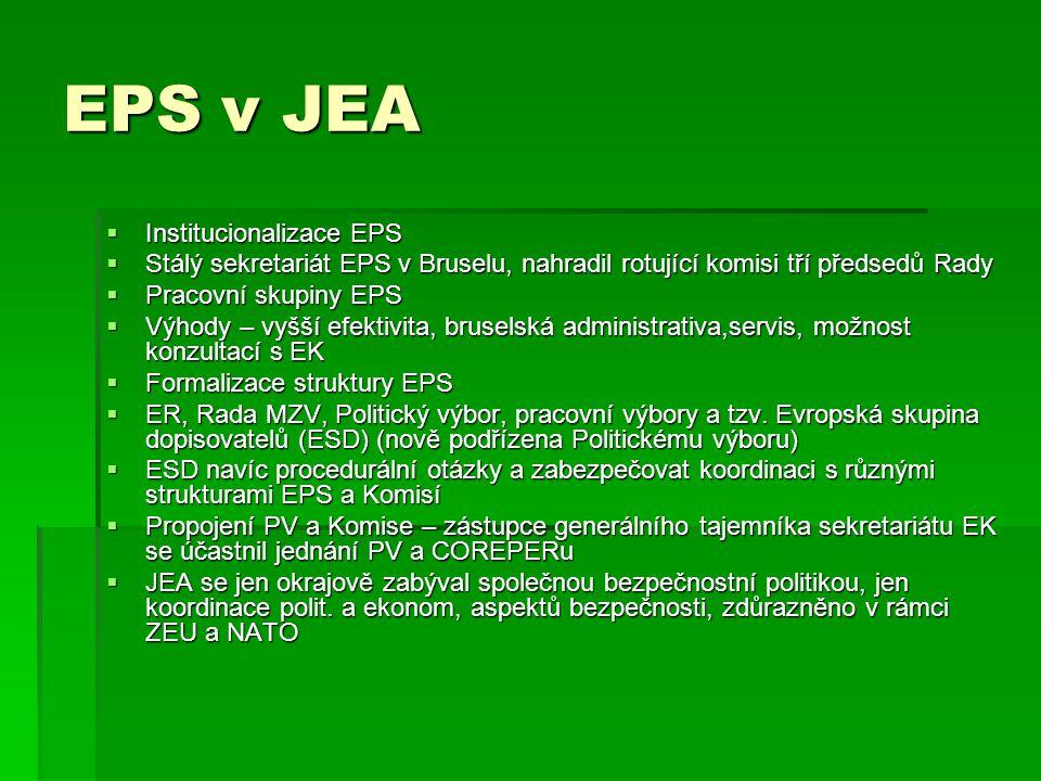 EPS v JEA Institucionalizace EPS