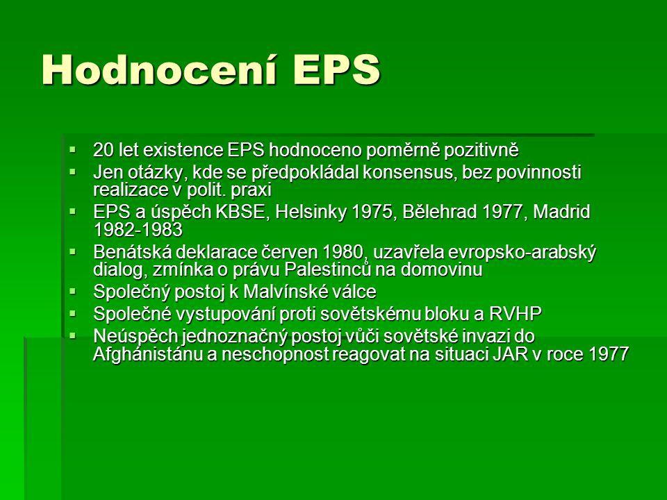 Hodnocení EPS 20 let existence EPS hodnoceno poměrně pozitivně