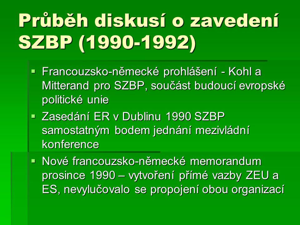 Průběh diskusí o zavedení SZBP (1990-1992)
