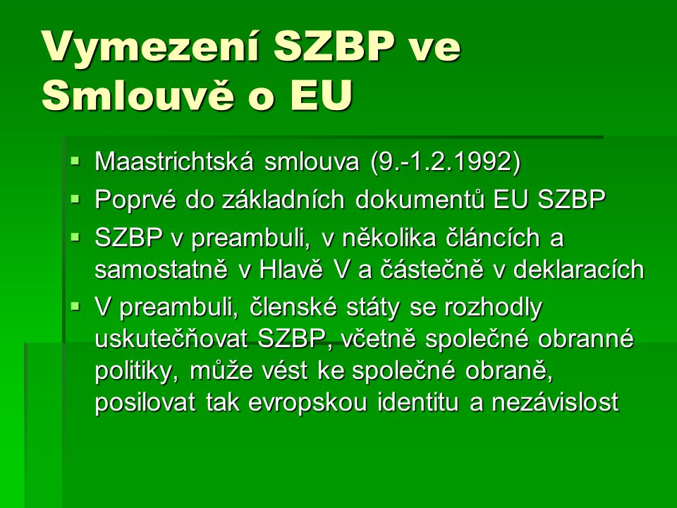 Vymezení SZBP ve Smlouvě o EU