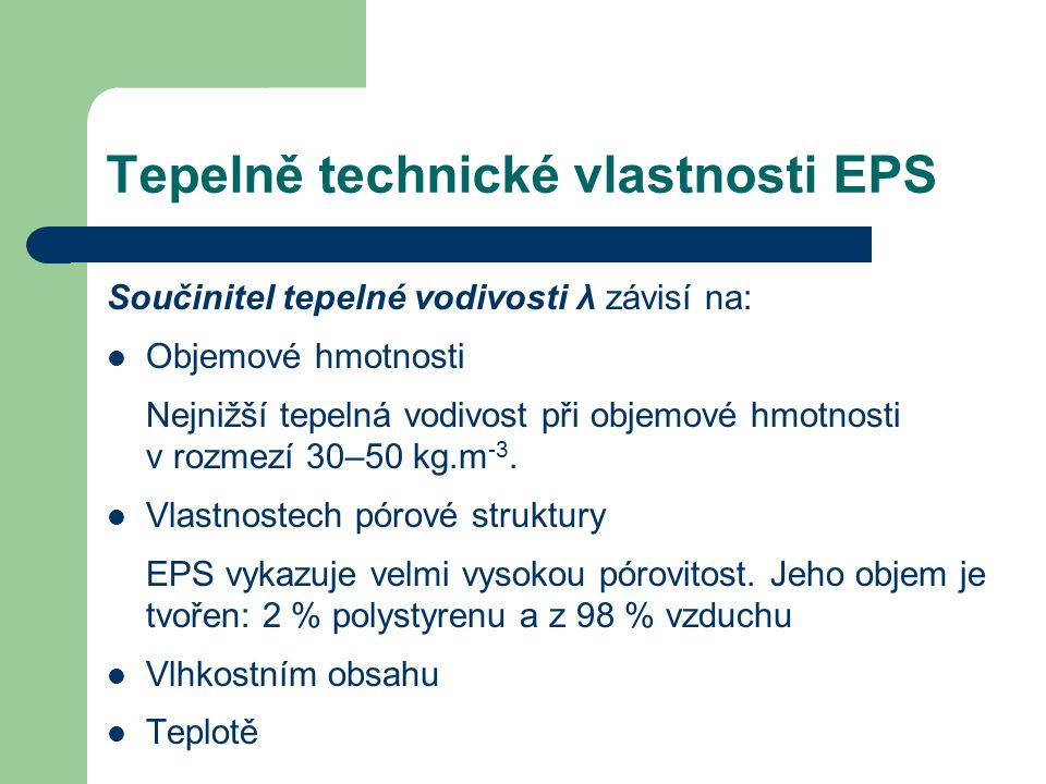 Tepelně technické vlastnosti EPS