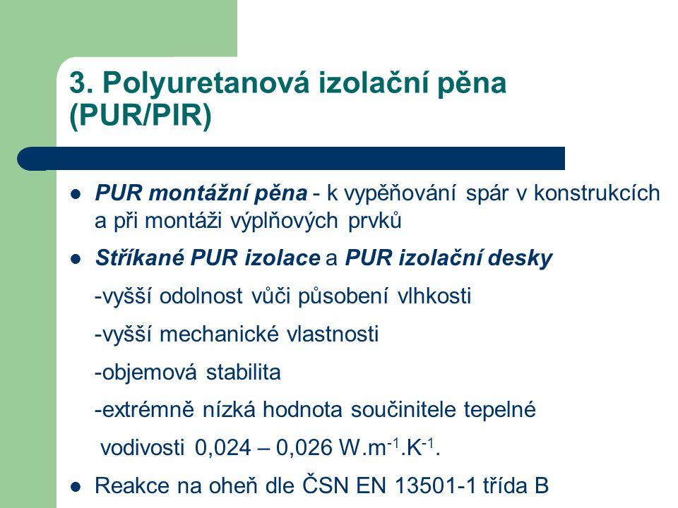 3. Polyuretanová izolační pěna (PUR/PIR)