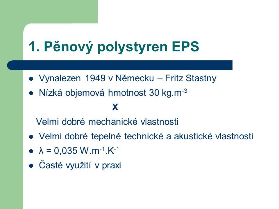 1. Pěnový polystyren EPS Vynalezen 1949 v Německu – Fritz Stastny
