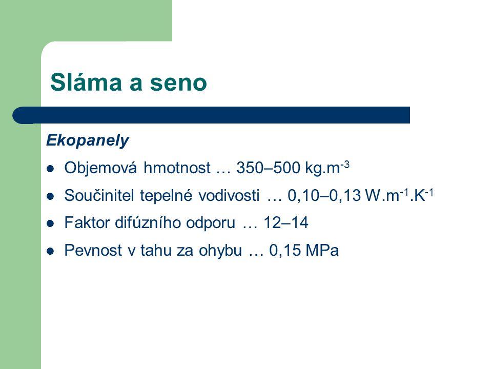 Sláma a seno Ekopanely Objemová hmotnost … 350–500 kg.m-3