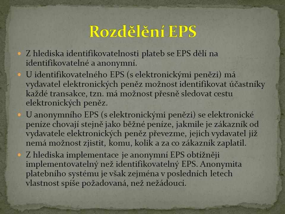 Rozdělění EPS Z hlediska identifikovatelnosti plateb se EPS dělí na identifikovatelné a anonymní.