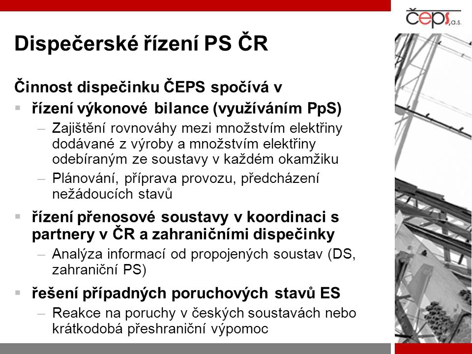 Dispečerské řízení PS ČR