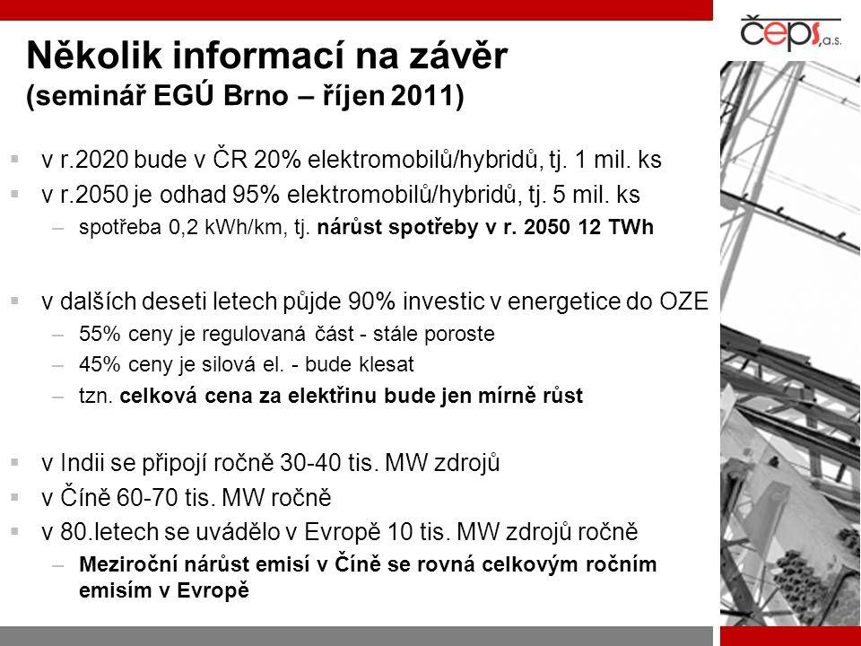 Několik informací na závěr (seminář EGÚ Brno – říjen 2011)