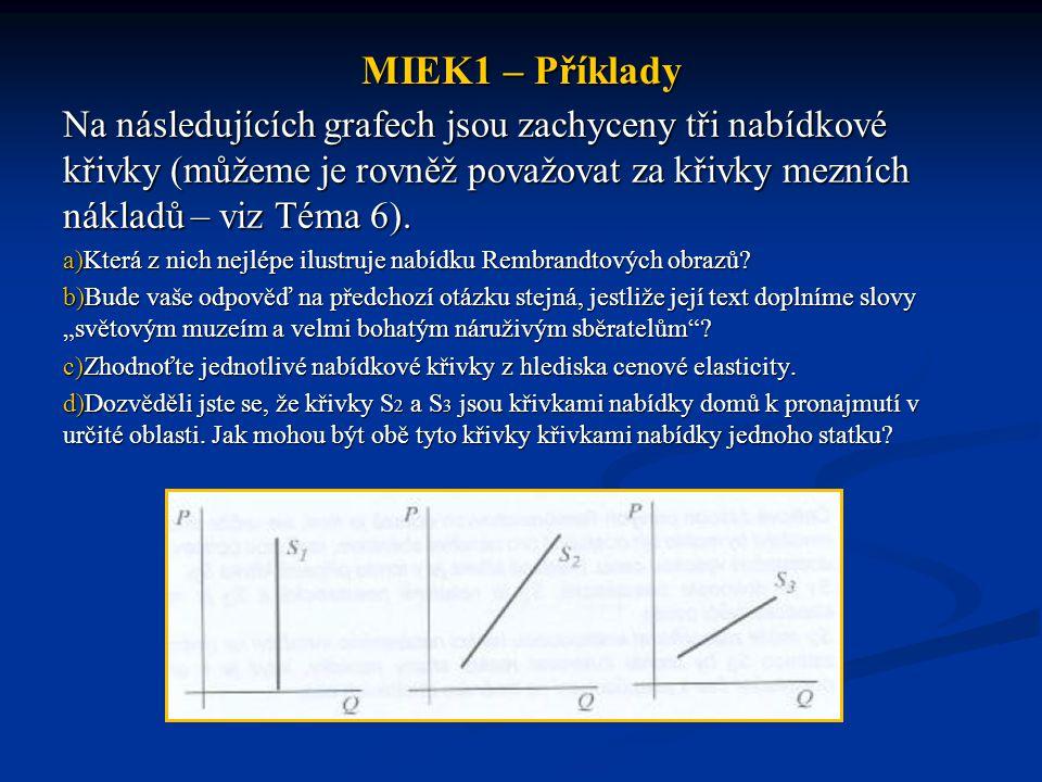 MIEK1 – Příklady Na následujících grafech jsou zachyceny tři nabídkové křivky (můžeme je rovněž považovat za křivky mezních nákladů – viz Téma 6).
