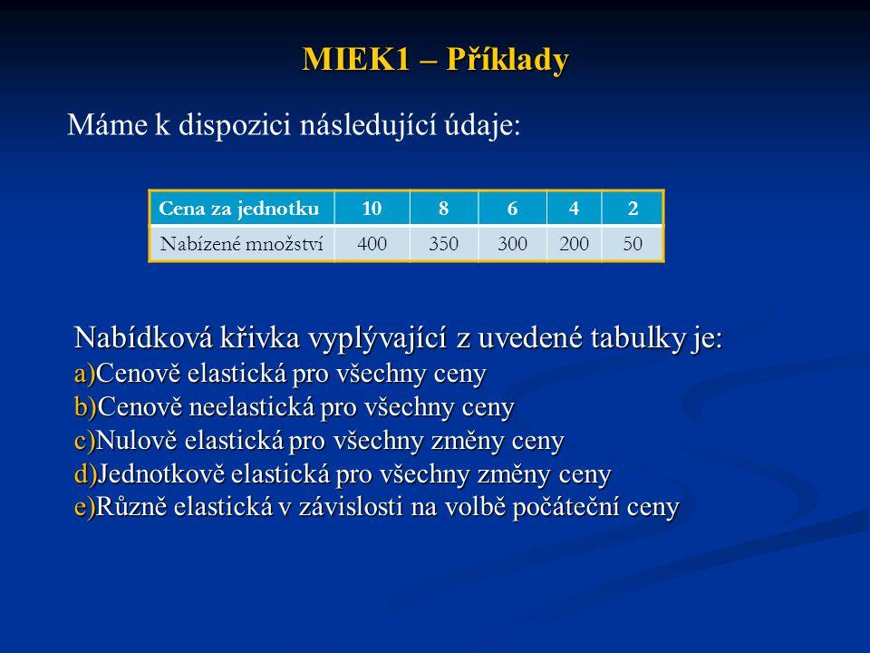 MIEK1 – Příklady Máme k dispozici následující údaje: