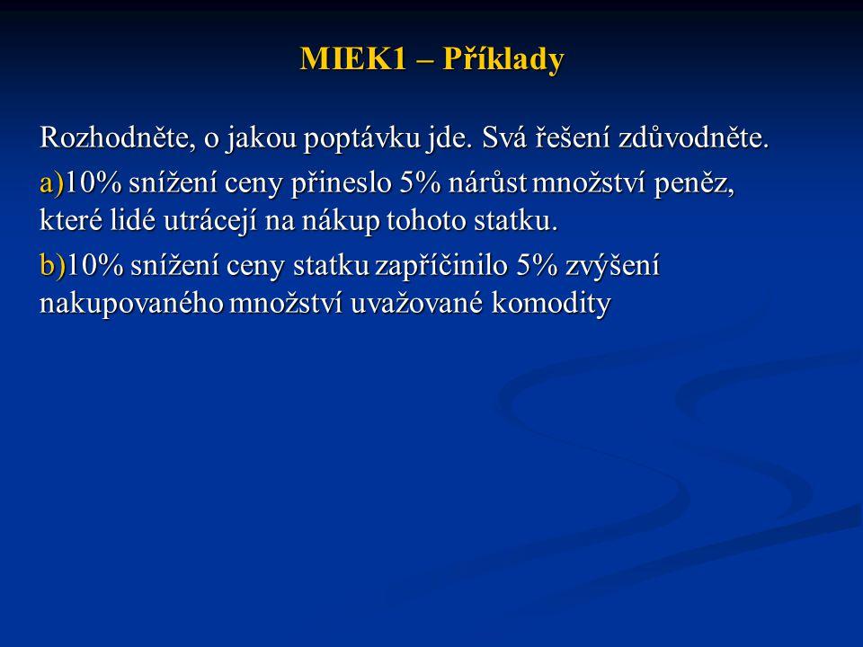 MIEK1 – Příklady Rozhodněte, o jakou poptávku jde. Svá řešení zdůvodněte.