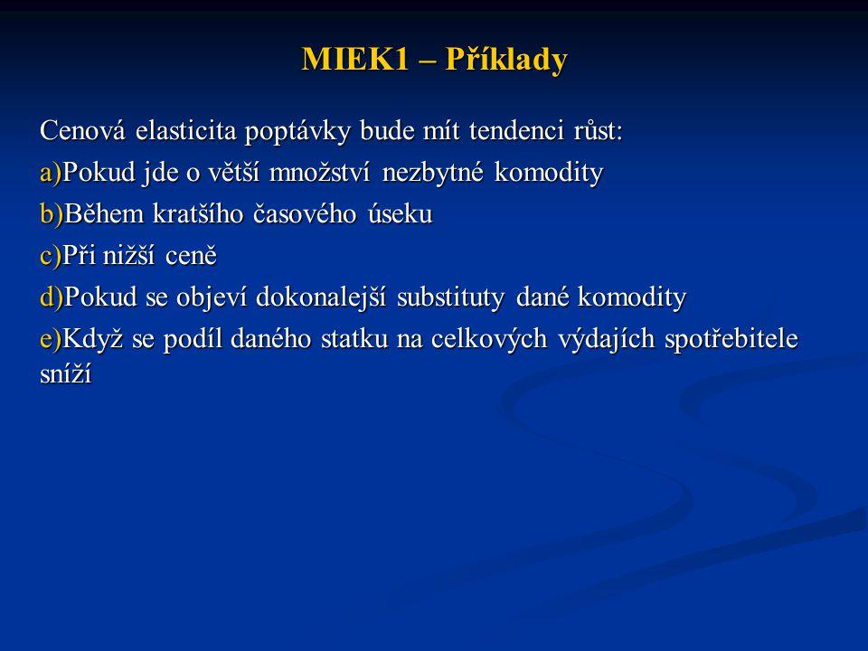MIEK1 – Příklady Cenová elasticita poptávky bude mít tendenci růst: