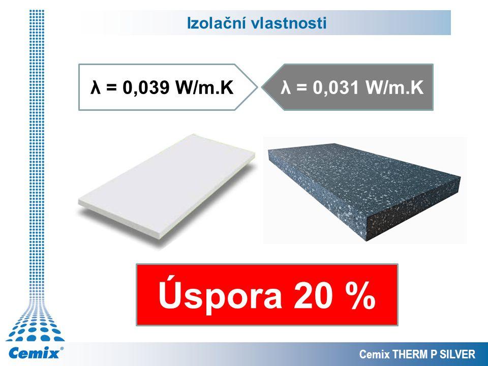 Úspora 20 % λ = 0,039 W/m.K λ = 0,031 W/m.K Izolační vlastnosti