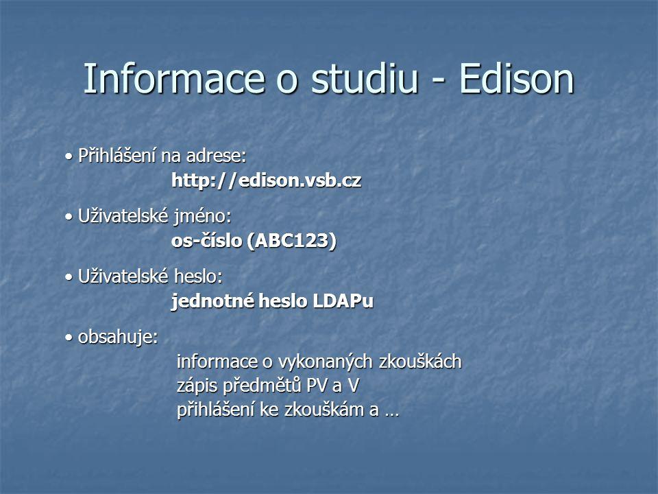 Informace o studiu - Edison