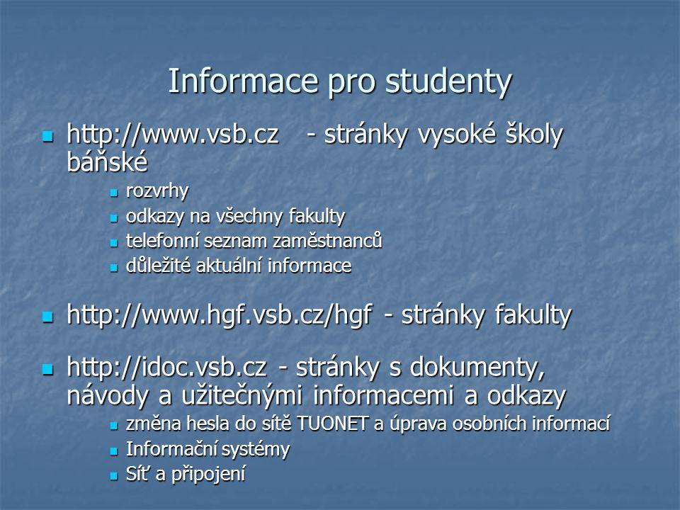 Informace pro studenty