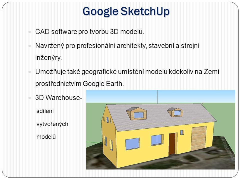 Google SketchUp CAD software pro tvorbu 3D modelů.