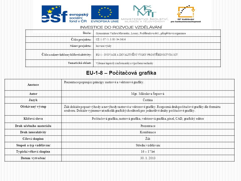EU-1-8 – Počítačová grafika