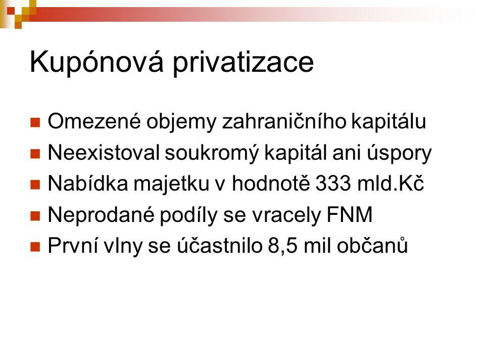 Kupónová privatizace Omezené objemy zahraničního kapitálu