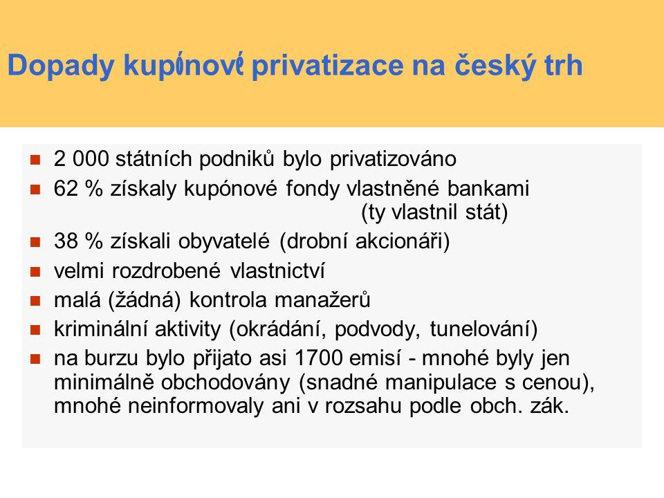 Dopady kupónové privatizace na český trh