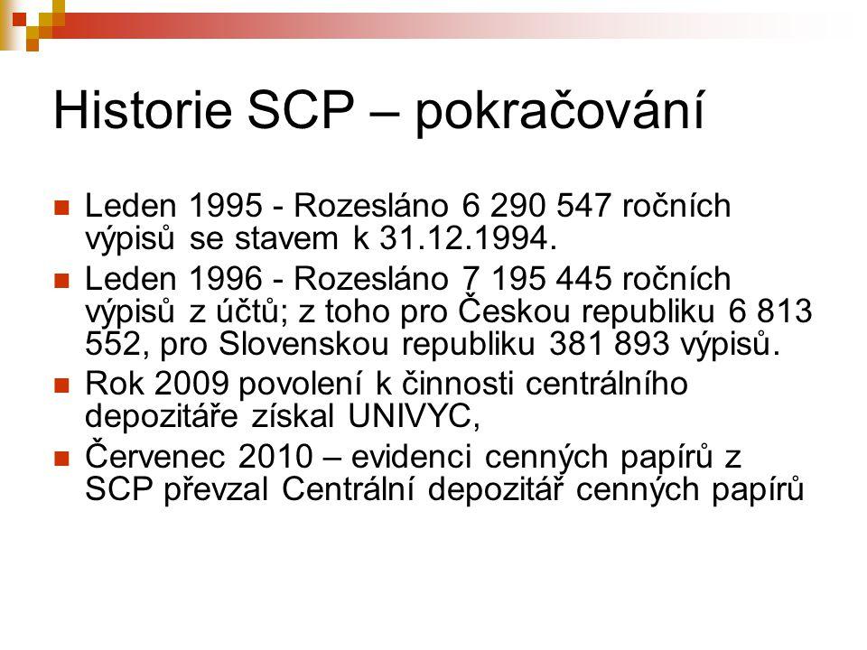 Historie SCP – pokračování