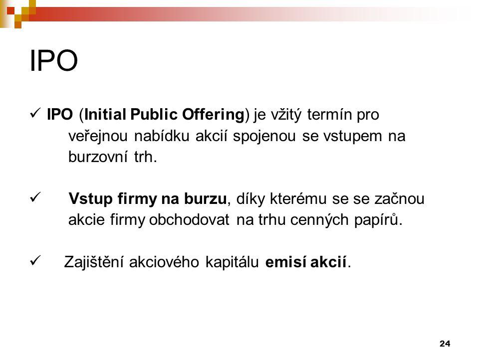 IPO IPO (Initial Public Offering) je vžitý termín pro
